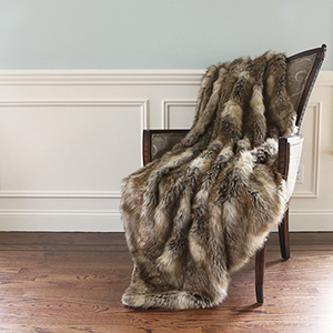 Long Hair Faux Amber Brown Fur 58 x 60 In. Throw Blanket