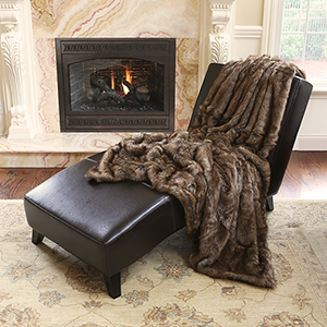 Long Hair Faux Coyote Fur 58 x 84 In. Throw Blanket