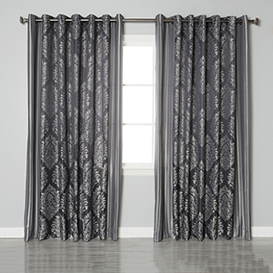 Black Damask 90 x 84 In. Curtain Panel