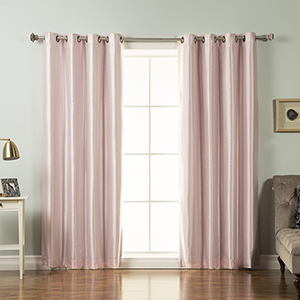 Light Pink 84 x 52 In. Faux Silk Curtains