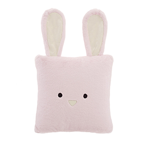 Faux Fur Pink Rabbit Plush 18 In. Animal Pillow