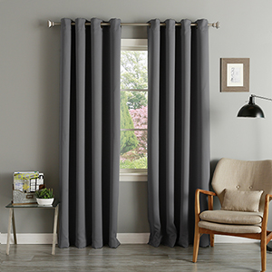 Dark Grey 52 x 84 In. Thermal Insulated Blackout Curtain Panel