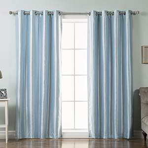 Sky Blue Faux Silk 52 x 96 In. Blackout Curtain Panel