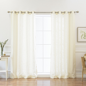 Ivory Faux Linen 84 x 52 In. Curtain Panel