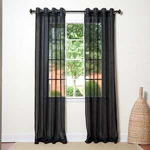 Black Crushed Voile 108 x 52 In. Curtain Panel