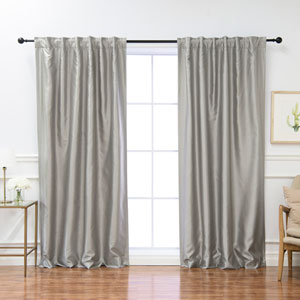 Faux Silk Gray 84 x 52 In. Blackout Curtains, Set of Two