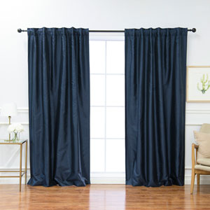 Faux Silk Navy 84 x 52 In. Blackout Curtains, Set of Two