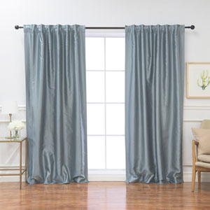 Faux Silk Blue Dawn 96 x 52 In. Blackout Curtains, Set of Two