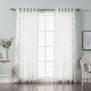Medallion Gray Print Sheer Faux Pippin Linen 84 x 52 In. Curtains