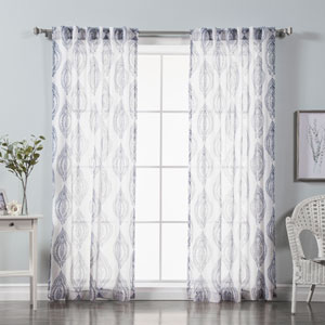 Medallion Navy Print Sheer Faux Pippin Linen 84 x 52 In. Curtains