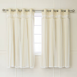 Beige Lace 52 x 63 In. Overlay Blackout Curtains, Set of Two