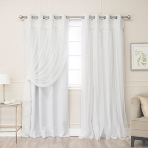 Beige Lace 84 x 52 In. Overlay Blackout Curtains, Set of Two