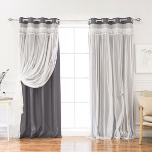 Dark Grey Lace 96 x 52 In. Overlay Blackout Curtains, Set of Two
