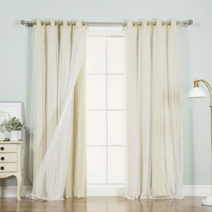 Beige 108 x 52 In. Grommet Blackout Curtains with Tulle Overlay, Set of Two