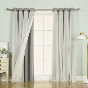 Grey 108 x 52 In. Grommet Blackout Curtains with Tulle Overlay, Set of Two