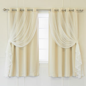 Beige 52 x 63 In. Grommet Blackout Curtains with Tulle Overlay, Set of Two