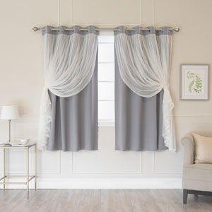 Grey 52 x 63 In. Grommet Blackout Curtains with Tulle Overlay, Set of Two