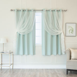 Mint 52 x 63 In. Grommet Blackout Curtains with Tulle Overlay, Set of Two