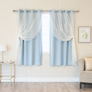 Sky Blue 52 x 63 In. Grommet Blackout Curtains with Tulle Overlay, Set of Two