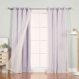 Lilac 84 x 52 In. Grommet Blackout Curtains with Tulle Overlay, Set of Two