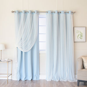 Sky Blue 84 x 52 In. Grommet Blackout Curtains with Tulle Overlay, Set of Two