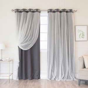 Dark Grey 96 x 52 In. Grommet Blackout Curtains with Tulle Overlay, Set of Two