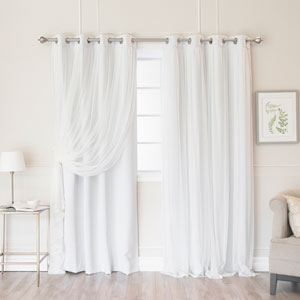 Vapor 96 x 52 In. Grommet Blackout Curtains with Tulle Overlay, Set of Two