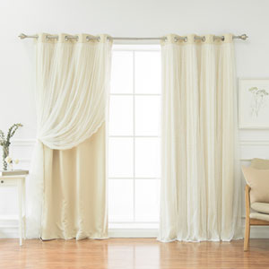 Dotted Lace Beige 84 x 52 In. Overlay Blackout Curtains, Set of Two