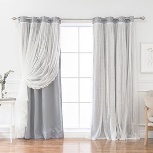 Dotted Lace Grey 84 x 52 In. Overlay Blackout Curtains, Set of Two