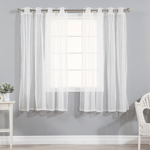 Gathered Tulle Sheer White with Silver Grommet 52 x 63 In. Curtains, Set of two