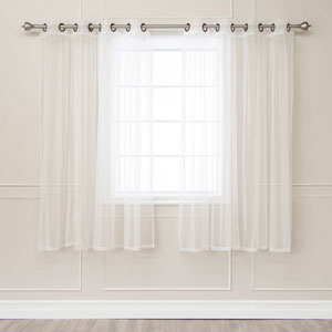 Tulle White Sheer Bronze Grommet 52 x 63 In. Curtains, Set of Two