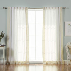Faux Linen White and Flax Blend Border 84 x 52 In. Curtains, Set of Two