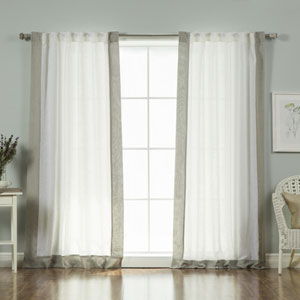 Faux Linen White and Gray Blend Border 84 x 52 In. Curtains, Set of Two