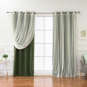 Tulle and Bronze Moss 84 x 52 In. Grommet Blackout Mix and Match Curtains, Set of Four