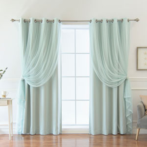 Colored Tulle and Blackout Mint 84 x 52 In. Mix and Match Curtains, Set of Four