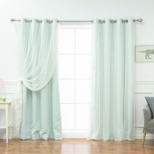 Tulle and Star Cut Out Blackout White 84 x 52 In. Mix and Match Curtains, Set of Four