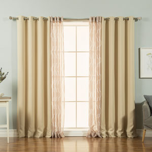 Sheer Moroccan and Solid Beige 84 x 52 In. Blackout Silver Grommet Top Mix and Match Curtains, Set of Four