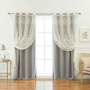 Sheer Agatha and Blackout Grey 84 x 52 In. Mix and Match Curtains, Set of Four