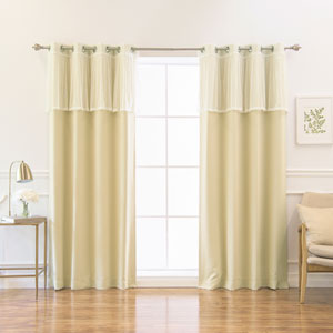Sheer Dot Valance and Blackout Beige 52 x 84 In. Mix and Match Curtains, Set of Four