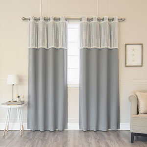 Sheer Dot Valance and Blackout Grey 52 x 84 In. Mix and Match Curtains, Set of Four