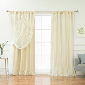 White 96 x 52 In. Blackout Curtains with Tulle Overlay, Set of Two
