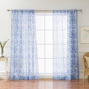 Sun Burst Shibori Blue 84 x 52 In. Curtains