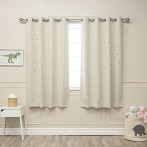 Star Cut Out Biscuit 52 x 63 In. Blackout Curtains