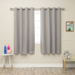 Star Cut Out Dove 52 x 63 In. Blackout Curtains