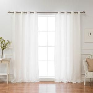 Belgian Ivory 108 x 52 In. Flax Linen Grommet Top Curtain
