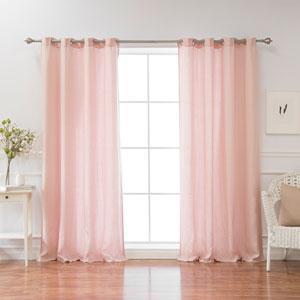 Belgian Flax Pink 84 x 52 In. Linen Grommet Top Curtain