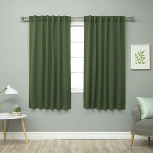 Solid Thermal Moss 52 x 63 In. Blackout Curtain Panels
