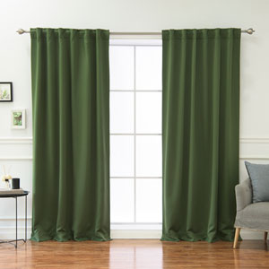 Solid Thermal Moss 84 x 52 In. Blackout Curtain Panels