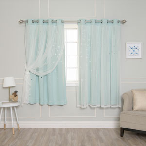 Mint Tulle Overlay Star Cut Out 63 x 52 In. Blackout Curtains
