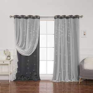 Dark Grey Tulle Overlay Star Cut Out 84 x 52 In. Blackout Curtains